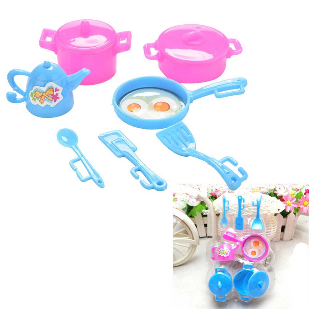 Zabawki w kształcie jedzenia akcesoria Mini zastawa stołowa 1:12 Doll house miniaturowy rysunek widelec pot zestaw kuchenny lalki udawaj zabawki