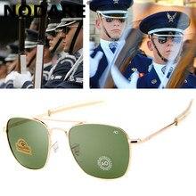 Nodare moda aviação óculos de sol dos homens marca designer ao óculos de sol para masculino exército americano militar lente vidro óptico oculos