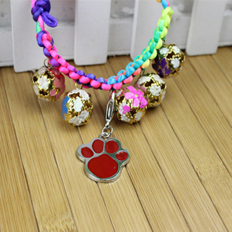 Popular Footprints Puppy Rhinestone Pendant Lovely Pet Jewelry Candy Color For Small Pet Dog Cat Drop Shipping
