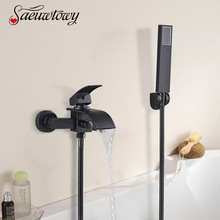 Bathtub Faucet Waterfall Chrome-Shower Hot-And-Cold-Faucet Wall-Mounted Hand-Spray Tap