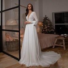 Скромное кружевное свадебное платье в стиле бохо с длинными