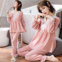 Summer Thin Cotton Maternity Nursing Sleepwear Suits Sweet Lace V neck Breastfeeding Pajamas Pregnan