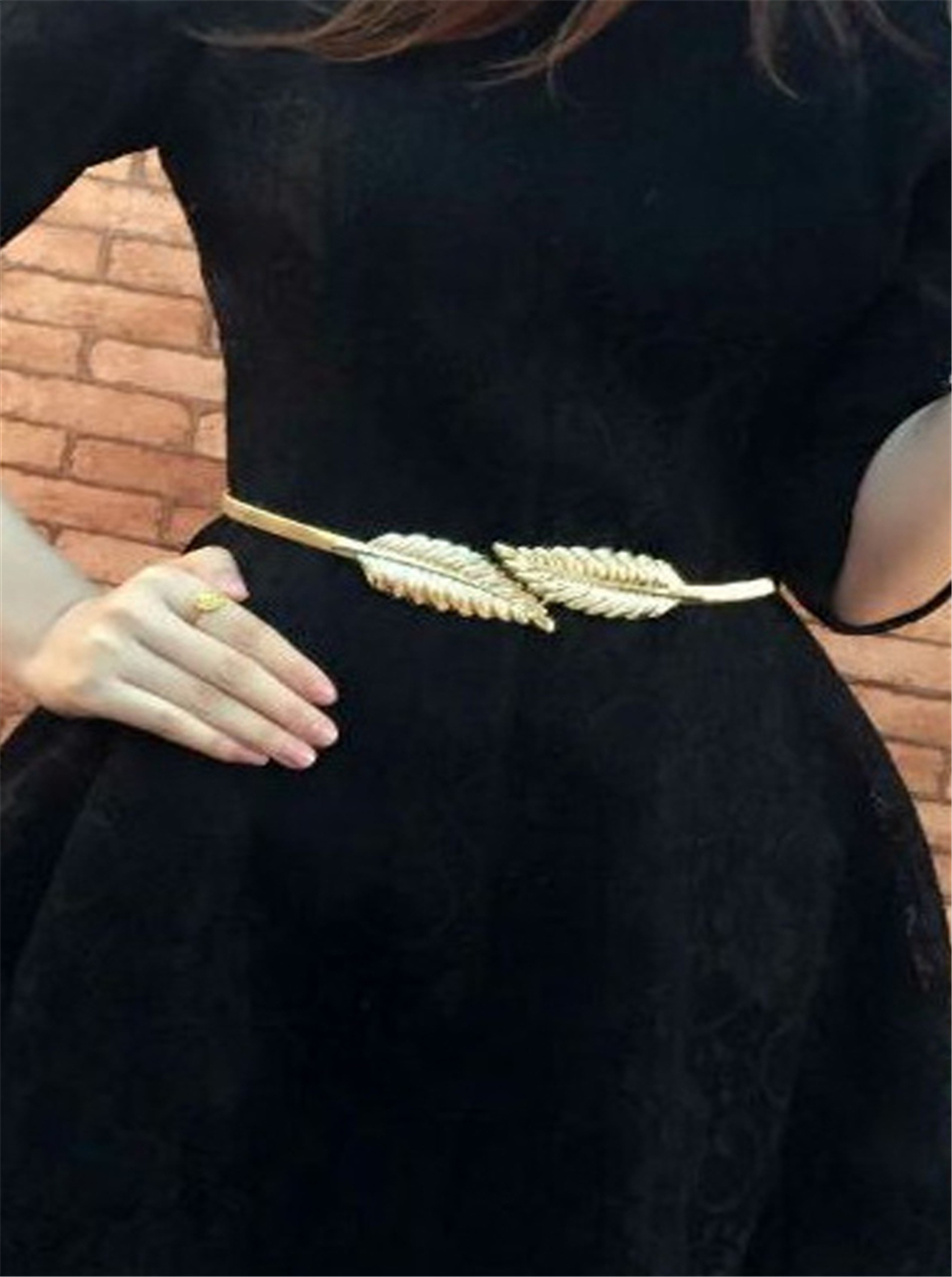 Ladies Metal Waist Chain Women Belt Leaf Dress Thin Waist Chain Flower Belt ONE
