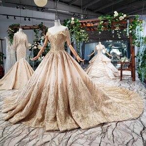 Image 2 - HTL786 elegant long evening gown 2020 sequined off shoulder sweetheart golden lace dresses evening vestidos de noche elegantes
