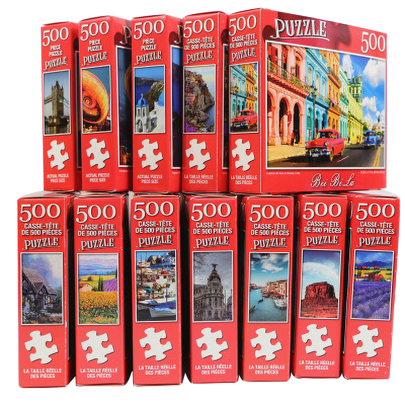 500 Pieces Jigsaw Puzzles Educational Toys Scenery Mini Paper Assembly Puzzle Reduce Stress Toy For Kids/Adults Birthday Gifts
