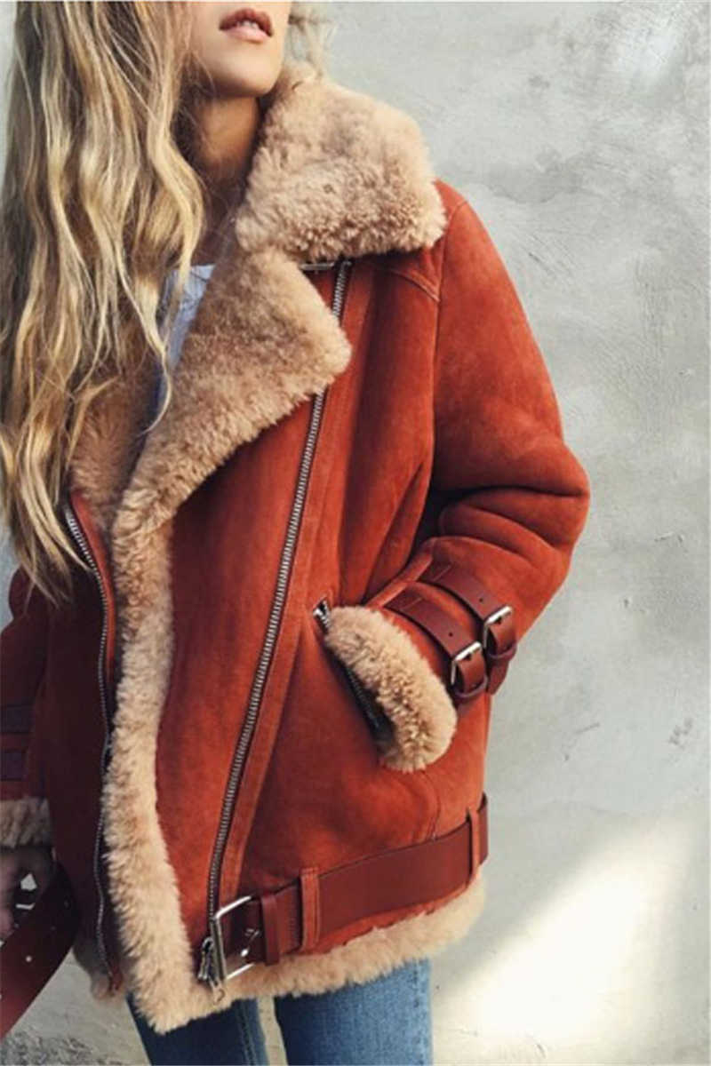 Women's Winter Thick Warm Jacket and Coats Street Casual Vintage Faux Fur Collar Zipper Outwear 2019 Female Cotton Short Jacket