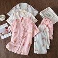 Japanese Spring and Summer Women's Pyjamas Pure Cotton Soft Feather Short Sleeve Pyjamas Set Comfortable Women's Home Decoration