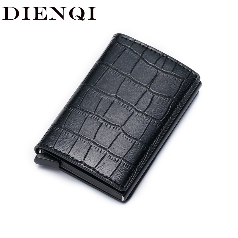DIENQI Anti Id Credit Card Holder Rfid Blocking Wallet Leather Cardholder Security Aluminum Metal Purse Creditcard Holder Case