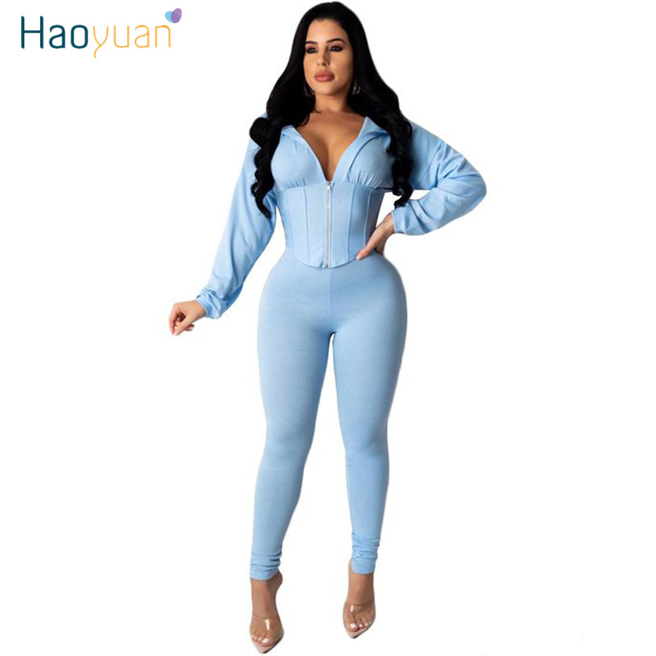 HAOYUAN Sexy Two Piece Set Tracksuit Women 2020 Spring Clother Crop Top And Pant Sweat Suits 2 Piece Club Outfits Matching Sets