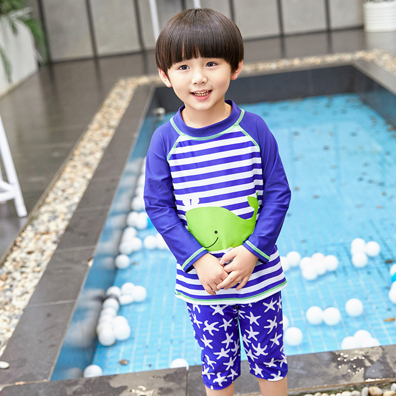 2019 New Style Boy CHILDREN'S Swimwear Cartoon Whale Split Type Stripes Long Sleeve Sun-resistant Boxer Swimwear