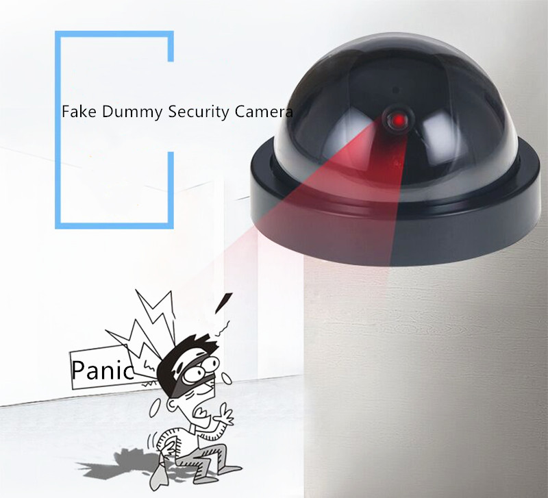 1PC Dummy Surveillance Camera Home Plastic Smart Indoor Outdoor For CCTV Camera Dome Fake Security With Flashing Red LED Light