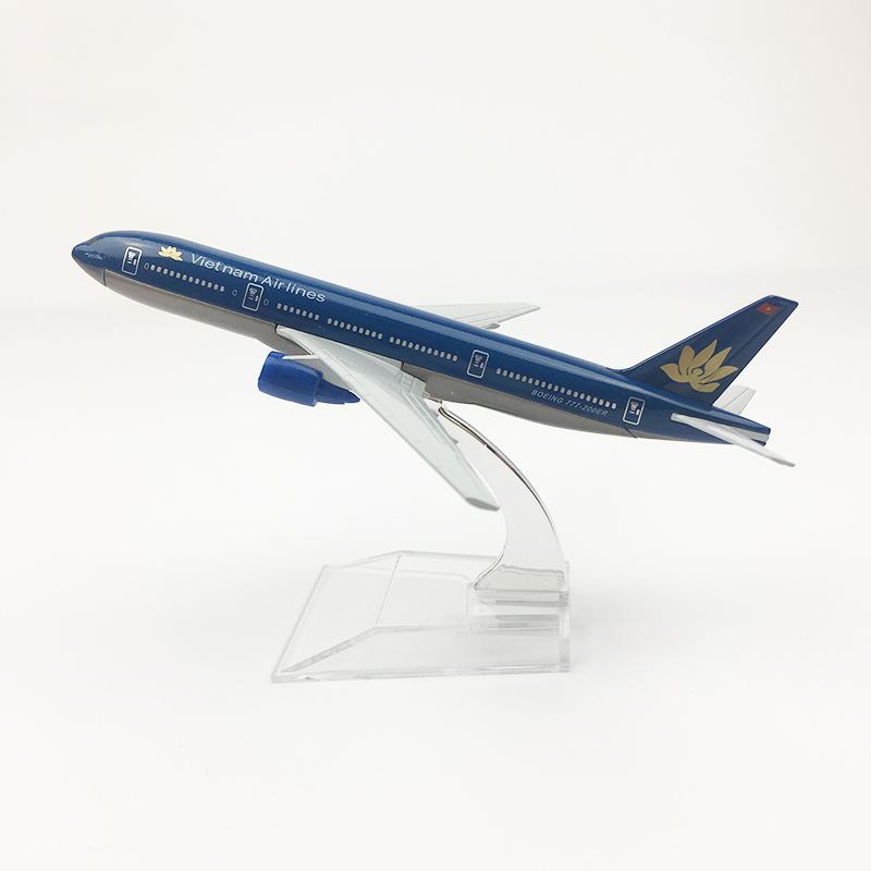 16CM 1/400 Diecast Air Plane Vietnam Airlines Boeing B777-200 Model with Base Alloy Aircraft Collectible Air Plane Model image