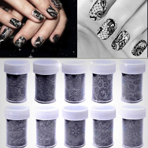 Fabiyan/Method Bi Yan 10-Manicure Black Lace Star Stickers Nail Sticker Star Paper 4*100