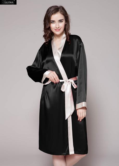 LilySilk Robe Kimono Nightwear Dressing Gowns Women Pure Silk 100 Female 22 momme Contrast Free Shipping Clearance Sale