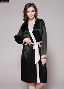 Image 1 - LilySilk Robe Kimono kıyafeti sabahlık kadın saf ipek 100 kadın 22 momme kontrast ücretsiz kargo tasfiye satışı