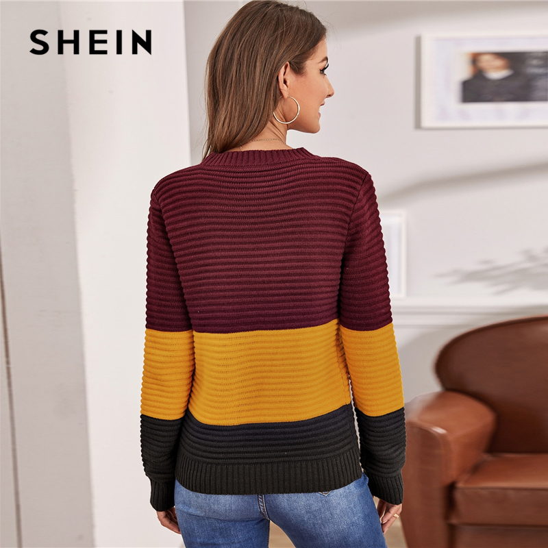 SHEIN Multicolor Color Block Rib-knit Soft Warm Sweater Women Autumn Winter Streetwear Round Neck Long Sleeve Casual Sweaters 2