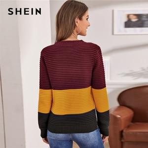 Image 2 - Женский разноцветный вязаный свитер SHEIN, мягкий теплый свитер в рубчик с круглым вырезом и длинными рукавами, Повседневная Уличная одежда на осень и зиму