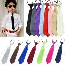 Модный школьный детский Свадебный однотонный эластичный галстук для маленьких мальчиков