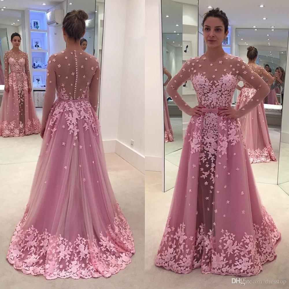Detachable Train Formal Evening Gowns With Long Sleeves Sequins Mermaid Illusion Button Pink Lace Prom Dresses 2019 Prom Dress