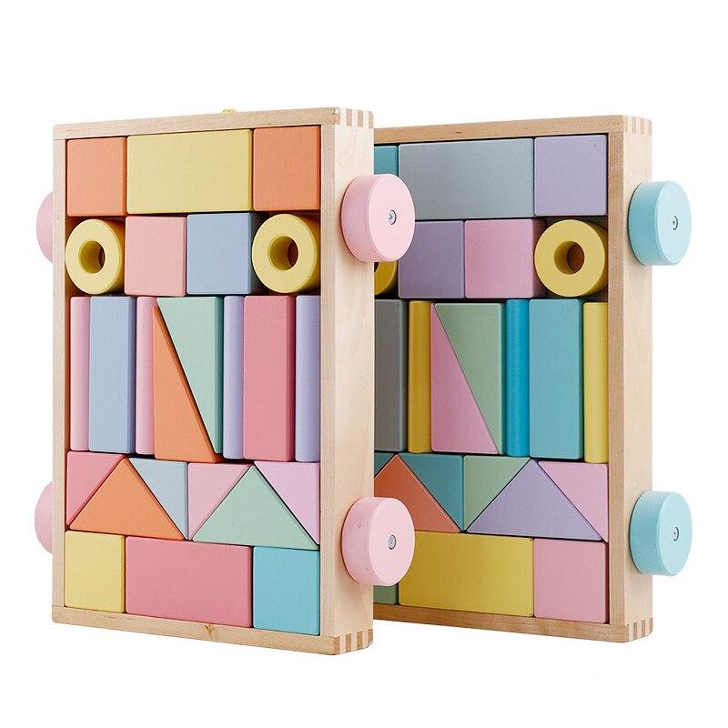 24 pièces Montessori nordique éducatif en bois jouets bois blocs de construction ensemble en bois arc-en-ciel briques rouleau remorque artisanat jouets enfant cadeau