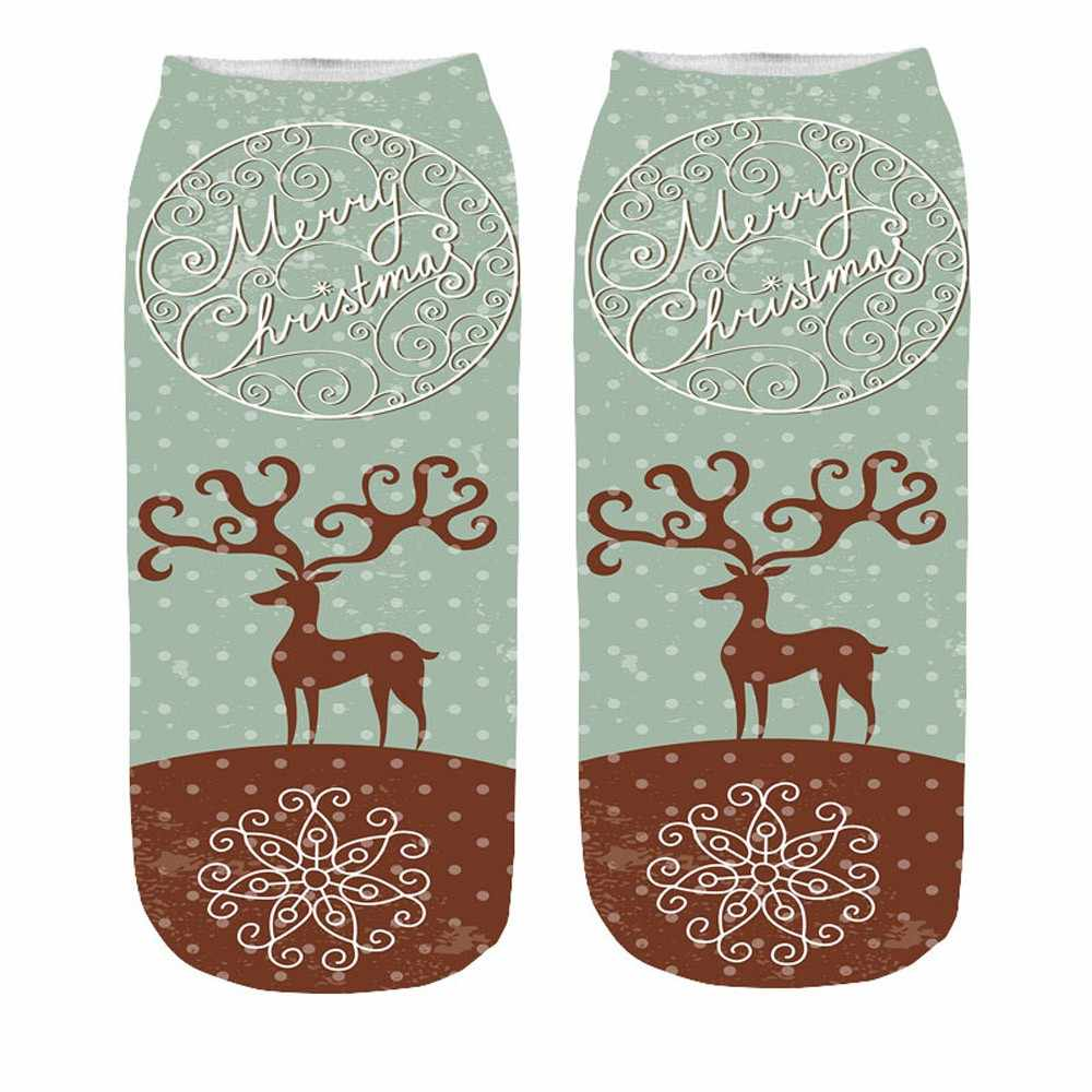 Meias de natal harajuku unisex natal 3d impresso casual bonito baixo corte tornozelo feminino masculino bonito engraçado meias calcetines mujer 2019