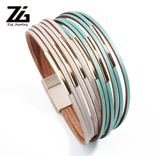 ZG Multiple Layers Beads Crystal Leather Bracelets For Woman 4 Color Fashion Pulsera Mujer Charm Bracelet Gifts 2018 New zg 2018 new woman bracelets hot brand high quality exaggerated 4 colors chain statement charm bracelet jewelry