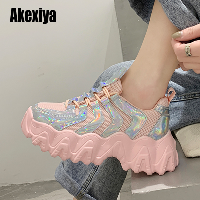 Fashion Sneakers Women Platform Sneakers Casual Shoes Women 2020 Breathable Mesh Women Sneakers White Comfortable Z235