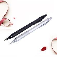 лучшая цена 0.5mm High Quality Graphite Drafting Metal Writting Automatic Mechanical Pencil Silver & Black Metal Pencil School Office Supply