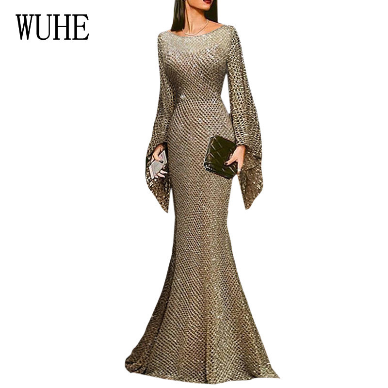 WUHE Long Sequin Floor Length Dress Elegant O Neck Full Sleeve Sparkle Sequin Maxi Dress Stylish Stretchy Bodycon Party Vestidos