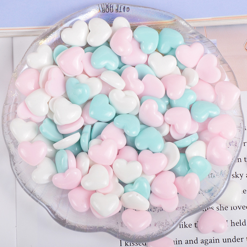 Boxi 5/10/20pcs Slime Additives Resin Hearts Charms Kawaii DIY Kit Supplies Accessories Filler For Fluffy Cloud Clear Slime Clay
