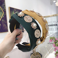 Xugar Star Circle Pearl Rhinestone Headband for Women Satin Braid Hairband Wedding Party Bezel Hair Hoop Accessories