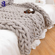 Chenille Chunky Knitted Blanket Weaving Blanket Mat Throw Chair Decor Warm Yarn Knitted Blanket Home Decor For Photography P82