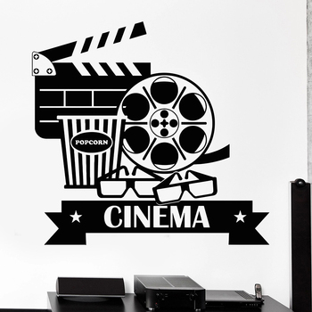Cinema Wall Decal Movie House Popcorn Cinematography Interior Decor Vinyl Door Window Stickers Glasses Art Creative Mural M187 image