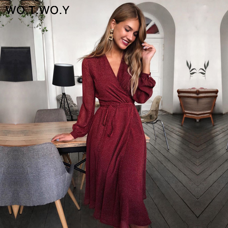 WOTWOY 2020 Bohemian Dot Print Dresses Women Summer Cross V-neck Sashes Mid-Calf Dress Lady Long Sleeve Button Dresses Female