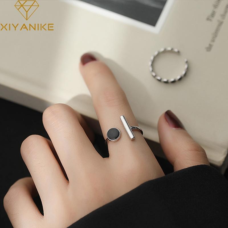 XIYANIKE 925 en argent Sterling géométrique noir strass anneau rond femme mode coréenne ouvert réglable à la main Couple cadeaux