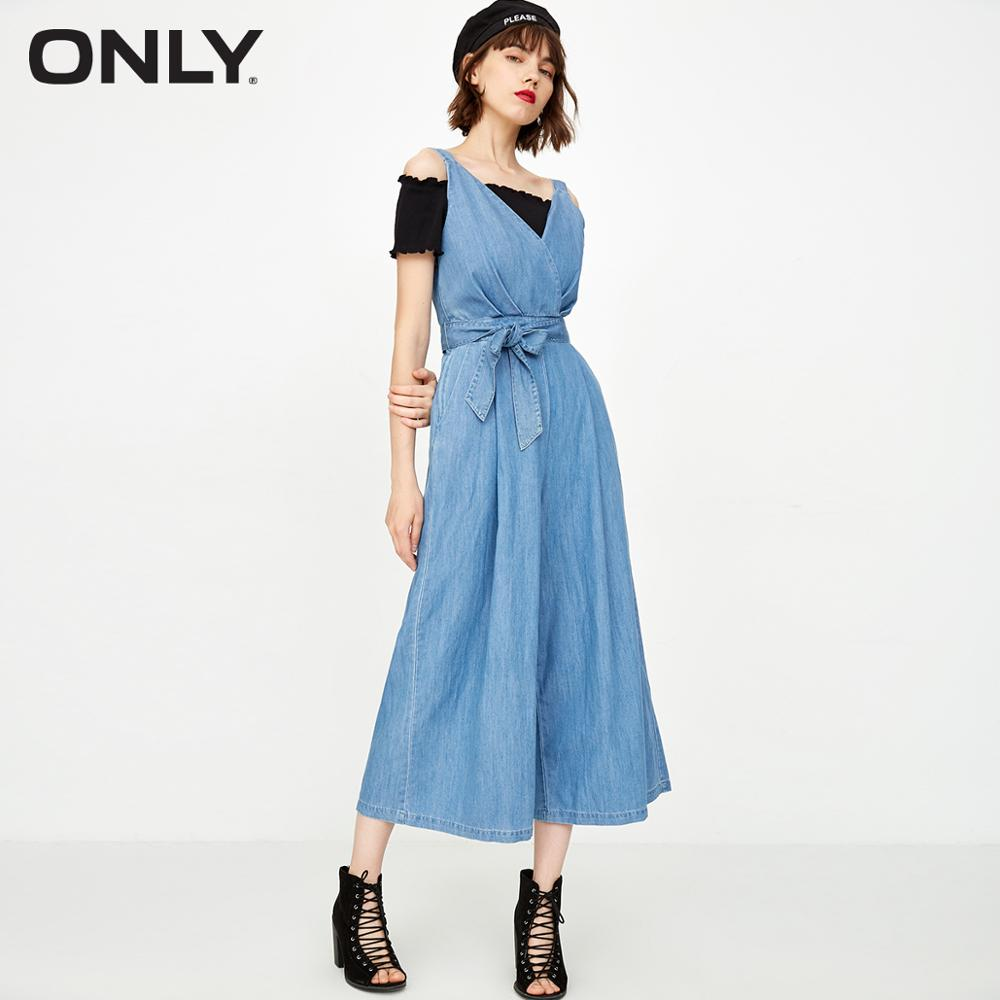 ONLY Women's Loose Fit Lace-up Wide-leg Denim Overalls | 119164506