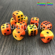 DICE Gemini YELLOW ORANGE 10PCS 12MM d6 Block Set Gaming Dice Standard Six Sided Decider Die RPG For Birthday Parties Toy(China)