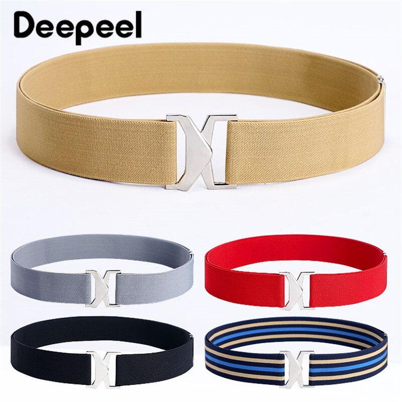Deepeel 1pc 4cm*60-110cm Fashion Elastic Cummerbunds Wide Waist Belts Women Alloy Buckle Skirt Decor Harajuku Accessories CB055