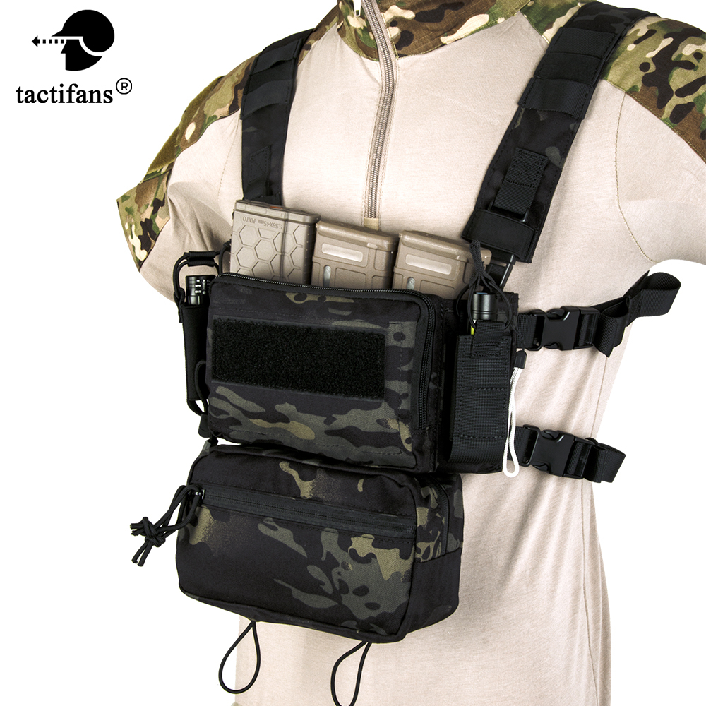 Micro D3 Tactical Vest Chest Rig CRM H Harness With Drop Down Pouch M4 Mag Insert Flatback Integratable Airsoft Accessories