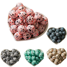 10pcs leopard Silicone Loose Beads Food Grade Teething Beads DIY Chewable Colorful Teething For Infant Baby Safe Teether Round let s make baby teether unfinished silicone hex beads set chewable food grade wooden beads diy teething necklace made beads