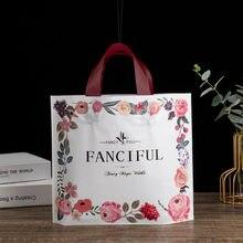 Sacs en plastique imprimés cerise supermarché, 50 pièces/lot, nouveaux sacs gilet, sacs cadeaux cosmétiques