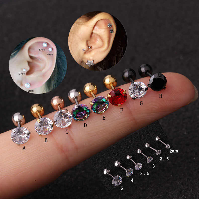 Sellsets 1piece 20g Unisex Stainless Steel Round Rainbow CZ Tragus Conch Rook Helix Ear Piercing  Jewelry for men women