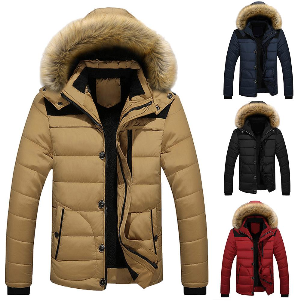 Fashion Winter Down Jackets Men Patchwork Long Sleeve Button Zipper Coat Cotton Padded Hooded Down Jackets Cotton Coat  For Men