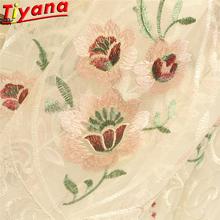Luxury Embroidered Lace Tulle for Living Room Pastoral White Sheer Advanced Quality Beautiful Customizable WP427#40