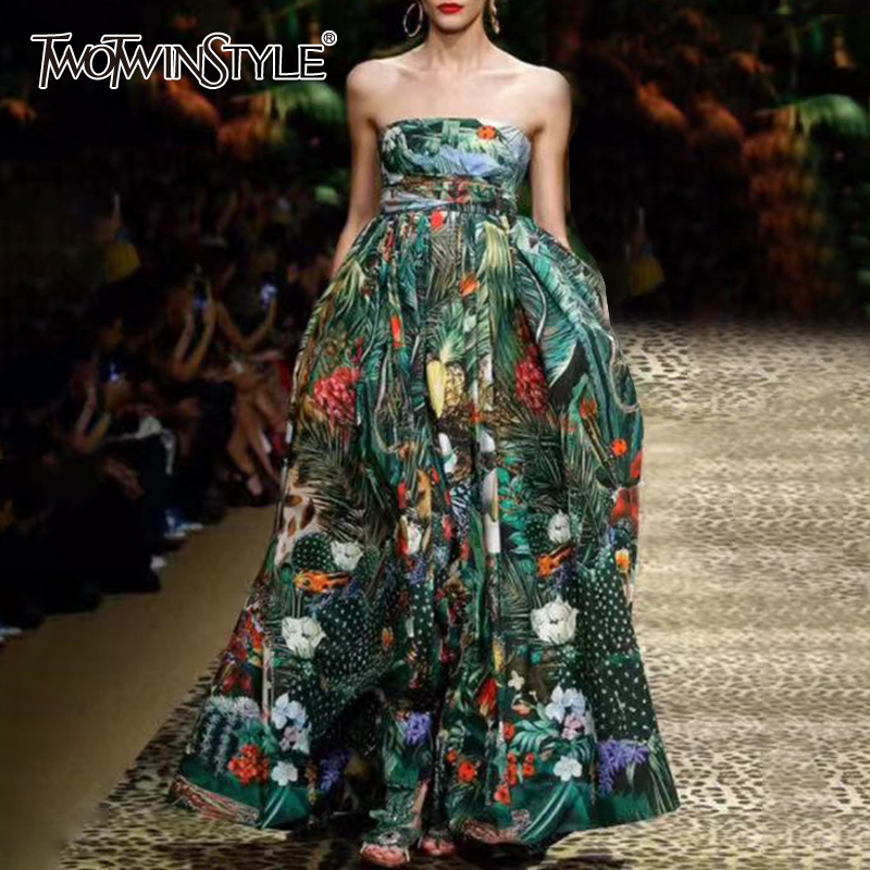 >TWOTWINSTYLE Print Elegant Dress Women Square Collar Spaghetti Strap High Waist Ruched Dresses For <font><b>Female</b></font> <font><b>2020</b></font> <font><b>Clothing</b></font> Fashion