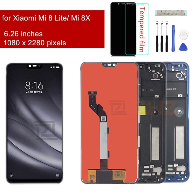 Xiaomi Mi 8 Lite LCD 디스플레이 터치 스크린 디지타이저 어셈블리 Mi 8 lite 수리 부품 용 프레임 디스플레이