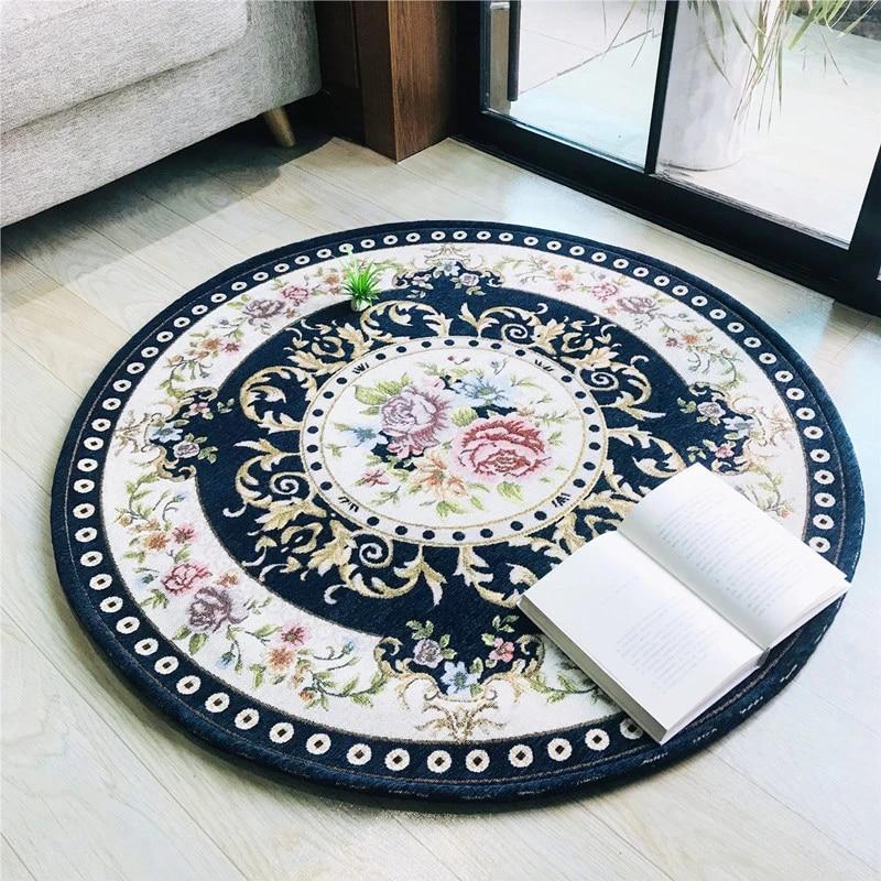tapis nordique rond en laine artificielle tisse tapis antiderapant absorption d eau pour chambre a coucher salon hall d entree salle de bains