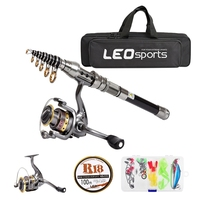 Leo 2.1M Telescopic Fishing Rod And Reel Combo Full Kit Spinning Fishing Reel Gear Pole Set With 100M Fishing Line Fishing Lures|Fishing Rods| |  -