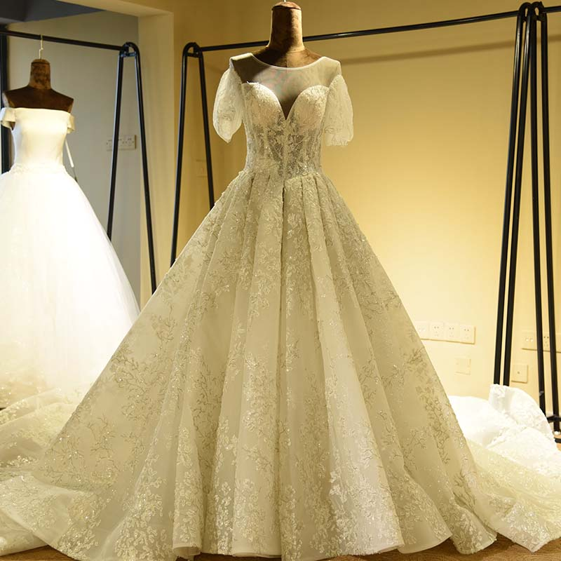 Luxury Beading Lace Wedding Dress Open Lace Up Back Short Sleeve Appliques Wedding Gown Real Photo A-Line Bride Dress