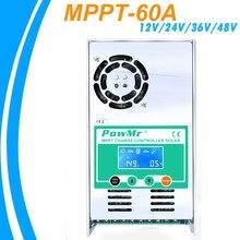 Powmr mppt 60a controlador de carga solar 12v 24v 36v 48v auto para max 190vdc pv entrada ventilada selada gel nicd li transporte mais rápido